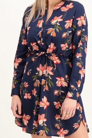 Robe courte fleurie avec cordon de serrage à la taille CORY Only
