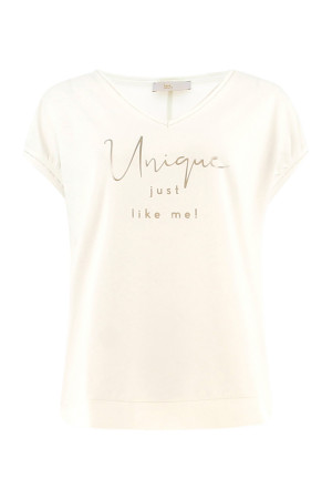T-shirt uni avec impression sur le devant en coton stretch Signe Nature