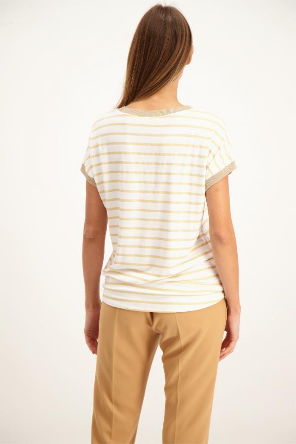 T-shirt imprimé rayé liens à nouer bords contrastants Signe Nature