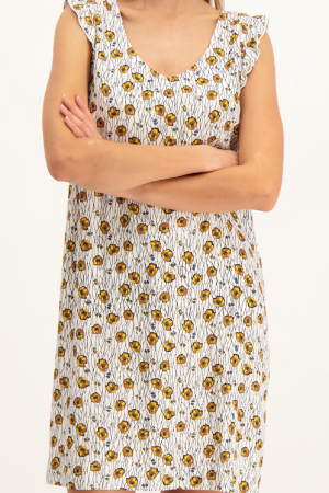 Robe courte imprimé fleuri lien au dos Signe Nature