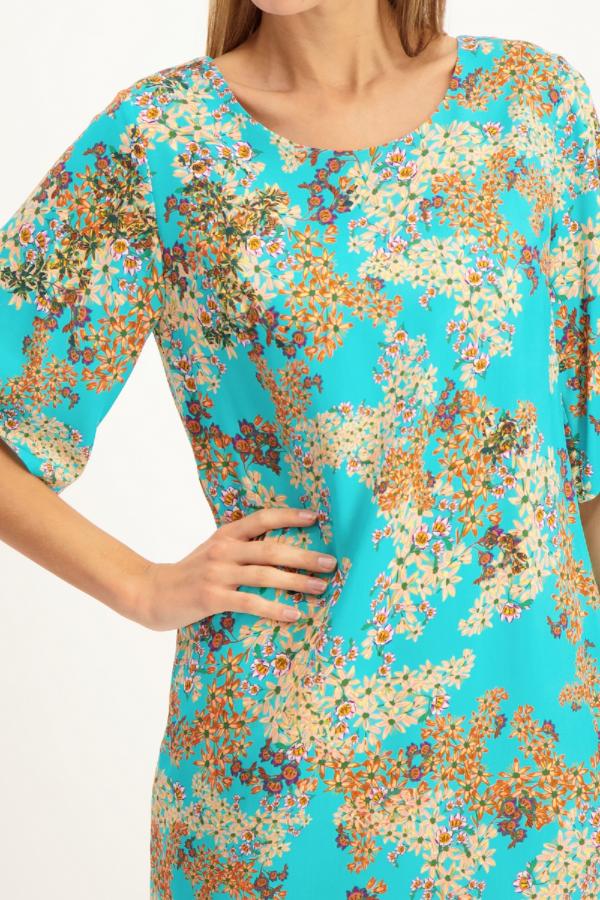 Robe imprimée fleuri avec liens à nouer au dos Signe Nature