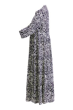 Robe mi-longue imprimée à pois en matière naturelle Signe Nature