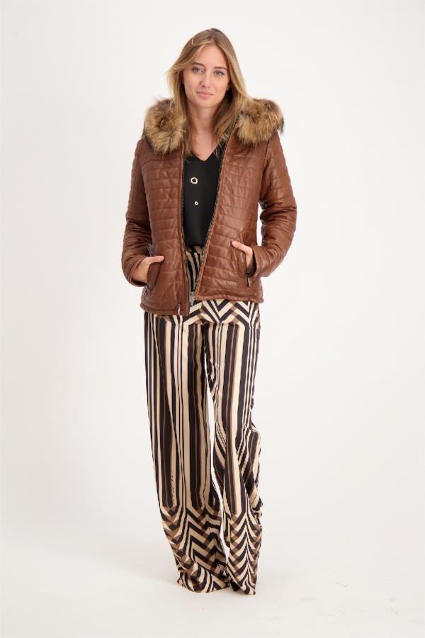 Veste en cuir avec fourrure à la capuche HAPPY Oakwood