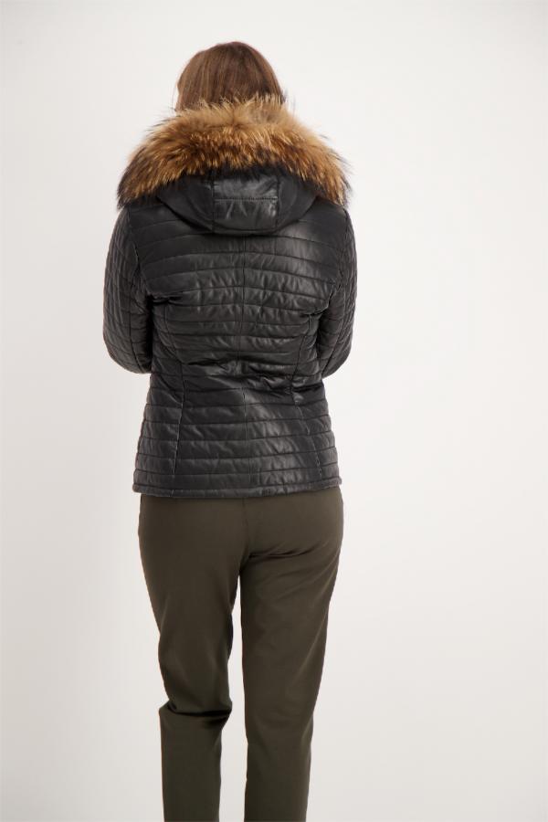 Veste à capuche en cuir avec fourrure Happy OAKWOOD
