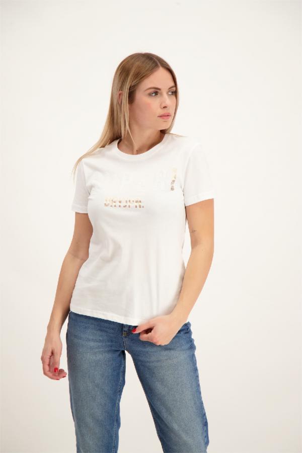 T-shirt uni en coton avec sequins devant Superdry