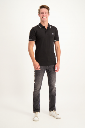 Polo en coton piqué uni logo brodé Calvin Klein