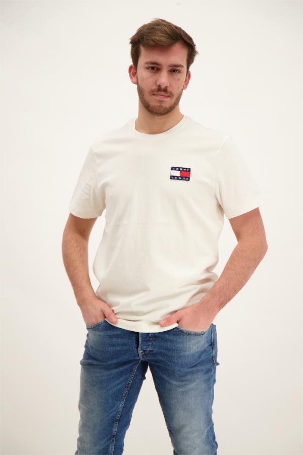 T-shirt uni avec broderie poitrine en coton Tommy Hilfiger