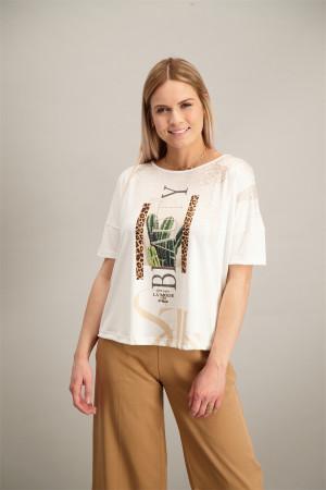 T-shirt loose avec inscription et strass devant Artigli