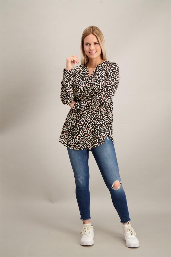 Chemisier fluide imprimé léopard col V avec boutons Vero Moda