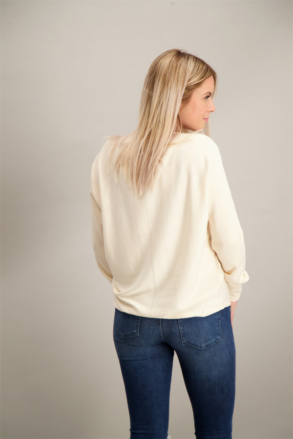 Pull uni en fine maille manches capes Street One