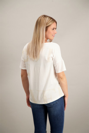 T-shirt loose uni avec inscription et strass devant Artigli
