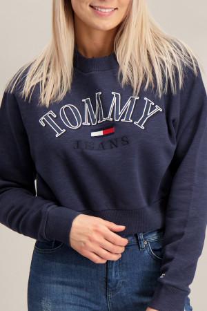 Pull court logo brodé devant bords côtelés Tommy Hilfiger
