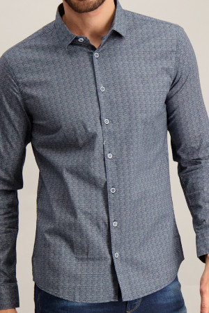 Chemise imprimée minimaliste en coton stretch  No Excess