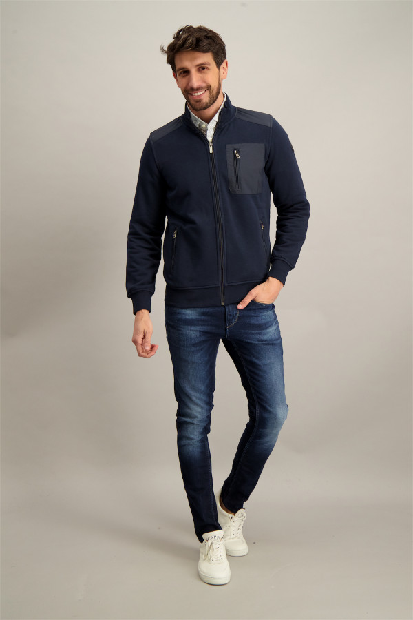 Cardigan uni zippé avec poches manches longues State of Art