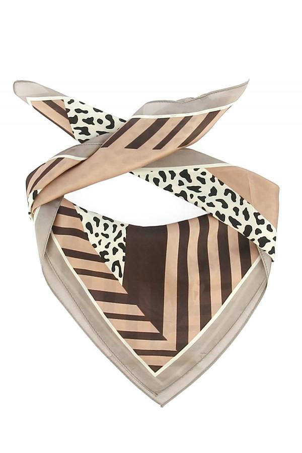 Foulard carré satiné imprimé géométrique et léopard pour Femme