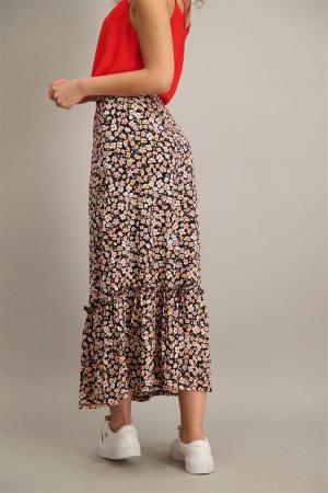 Jupe mi-longue fleurie avec taille élastique PELLA Only