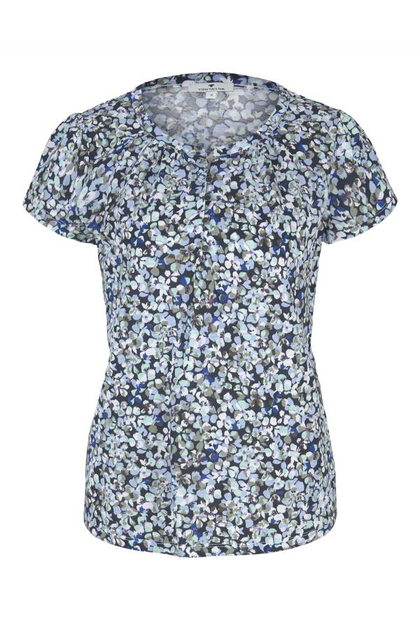 T-shirt loose imprimé fleuri demi-patte de boutonnage au col Tom Tailor