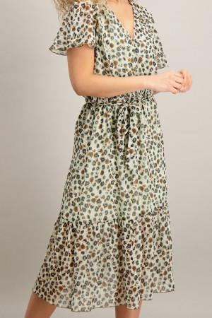 Robe midi en voile imprimé léopard taille élastique Geisha