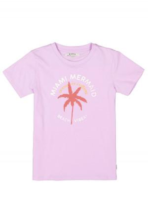T-shirt côtelé en coton imprimé tropical devant et inscriptions Garcia