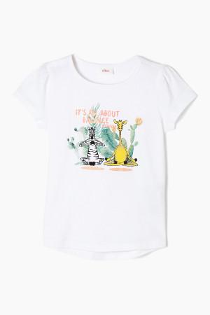 T-shirt en coton base arrondie plus longue au dos imprimé devant S.Oliver