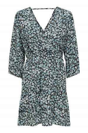 Robe courte en voile fleurie manches 3/4 WRAP Only