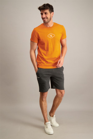 T-shirt uni en coton avec logo devant Calvin Klein