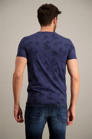 T-shirt imprimé botanique avec logo à la poitrine en coton NZA