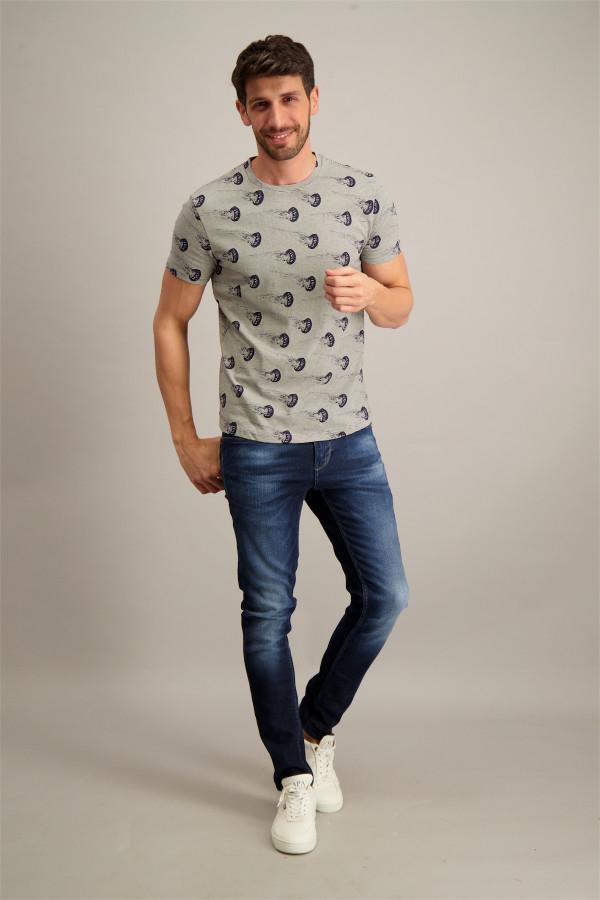 T-shirt rayé avec impression sur l'ensemble en coton No Excess