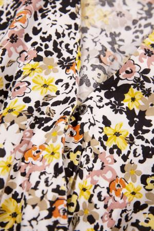 Robe longue fleuri avec ceinture à nouer en matière naturelle Garcia