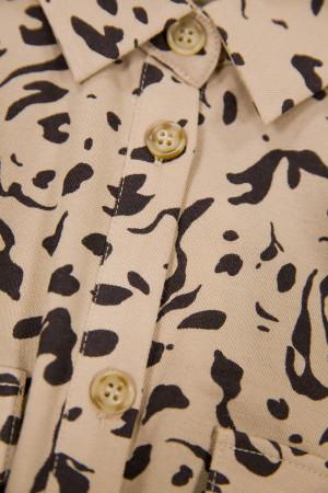Robe chemise imprimée léopard avec ceinture à nouer Garcia