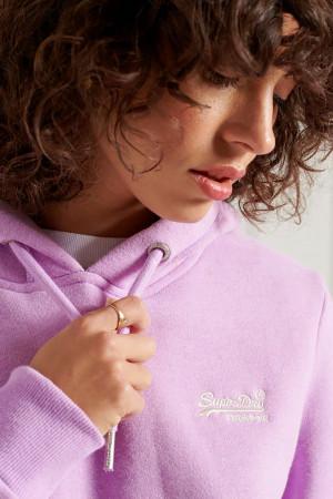 Sweat chiné à capuche avec poche et logo brodé Superdry