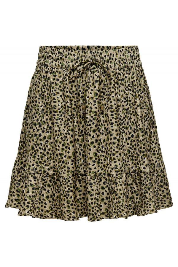 Jupe courte plissée imprimée léopard avec cordons de serrage DIA Only