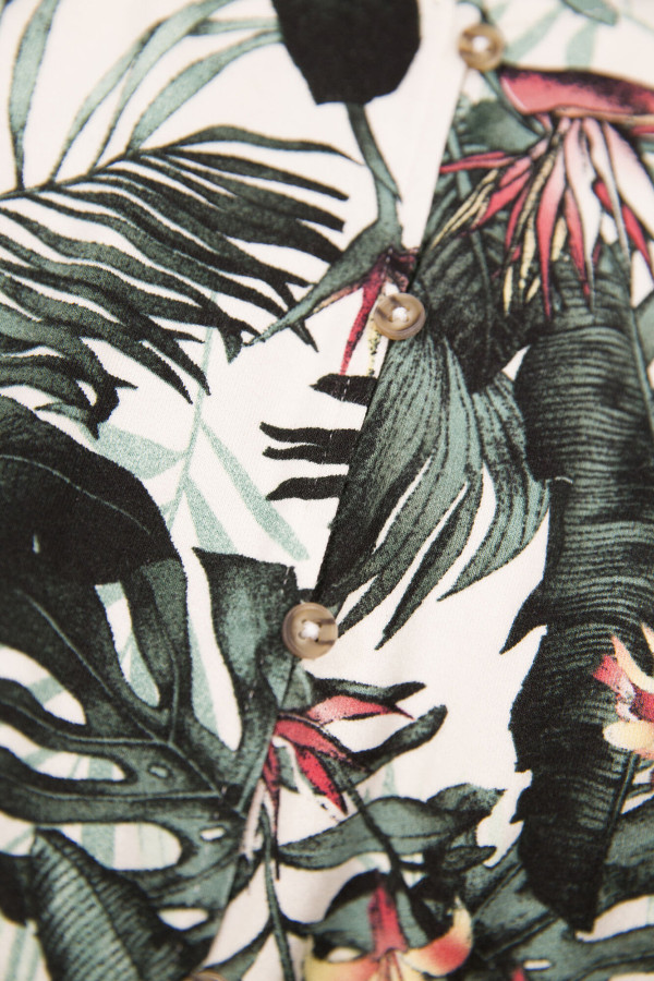 Combishort imprimée tropical avec ceinture à nouer à la taille Garcia