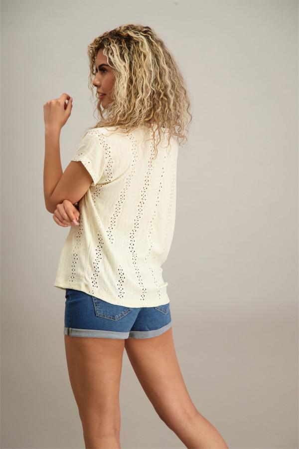 T-shirt ample uni ajouré manches courtes LUCYAVA Vero Moda