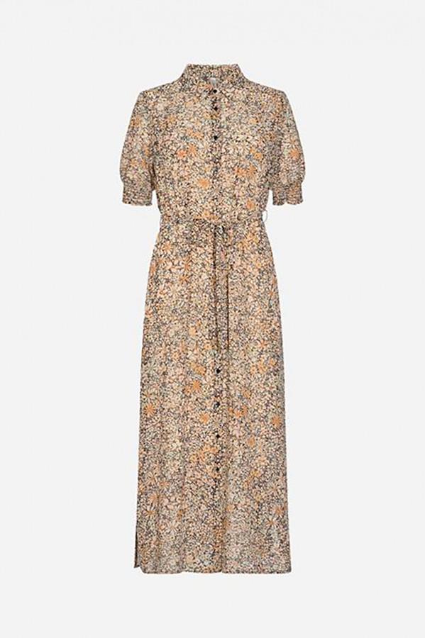 Robe longue en voile imprimé fleuri avec ceinture à nouer Soyaconcept