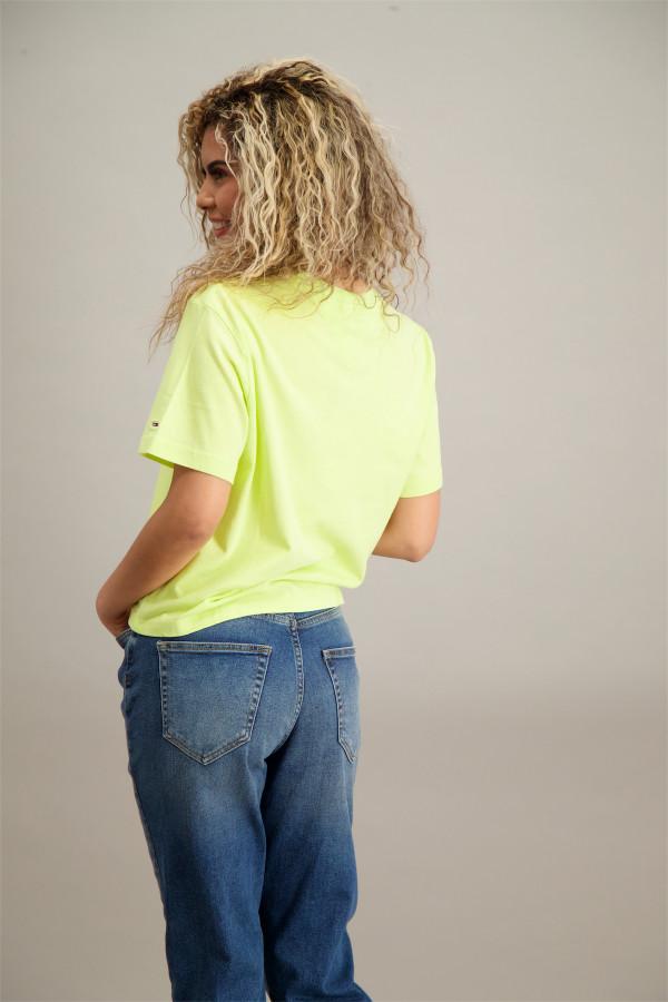 T-shirt loose fluo avec logo imprimé devant en coton Tommy Hilfiger