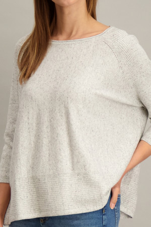Pull oversized chiné en fine maille manches 3/4 S.Oliver