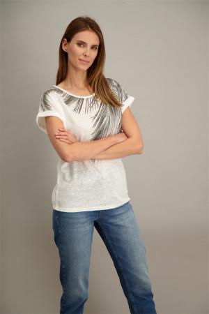 SOYACONCEPT Mode Femmes T-shirt Avec Coupe épaules dans Offwhite