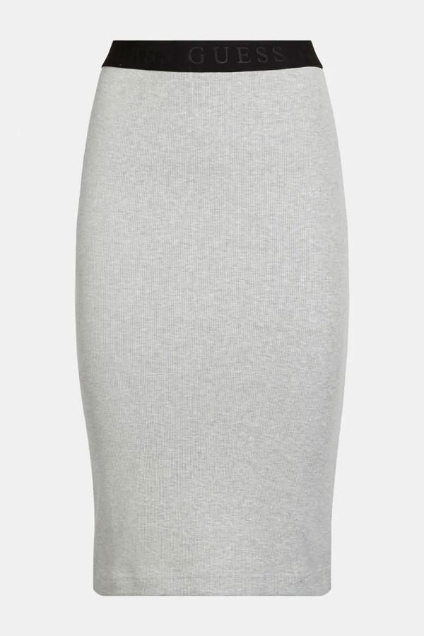 Jupe crayon côtelée taille élastique contrastante Guess