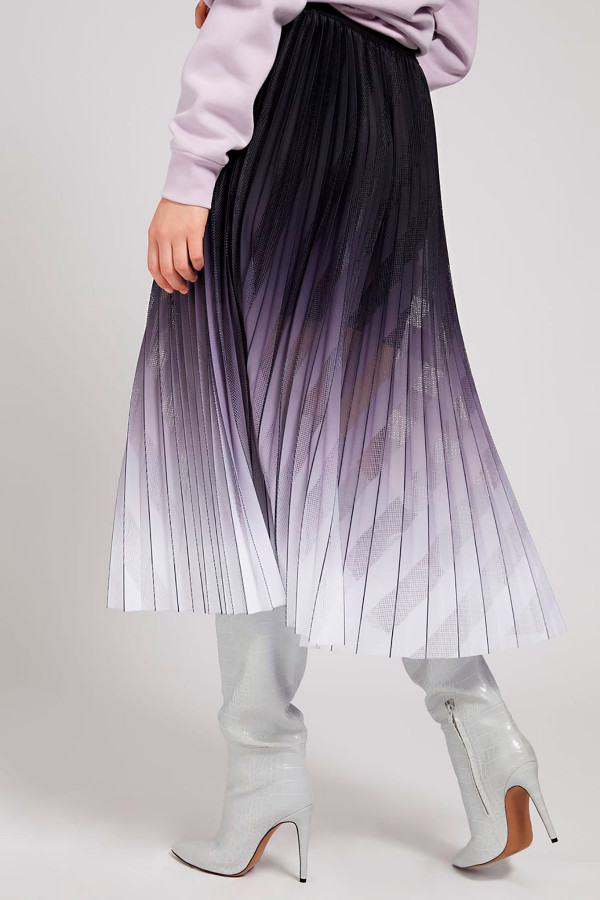 Jupe mi-longue plissée tie & dye biais en mesh Guess