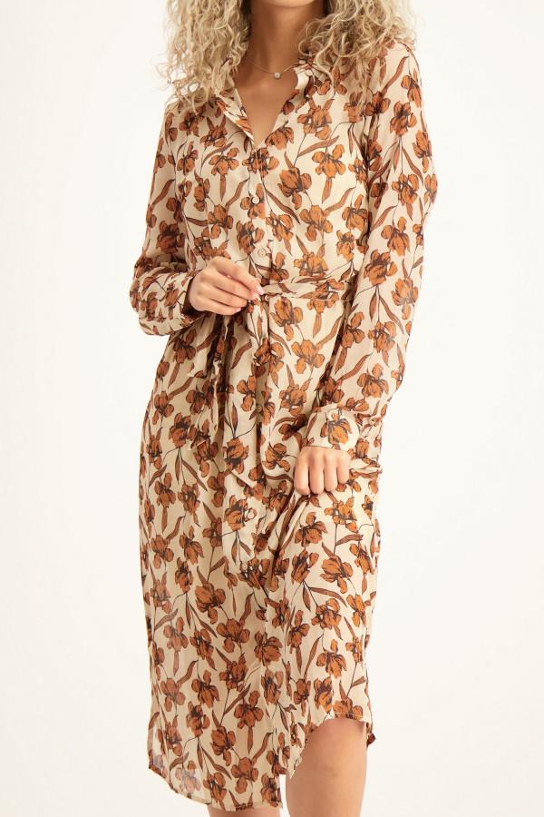 Robe longue fleurie en voile boutonnée KILTA Vila