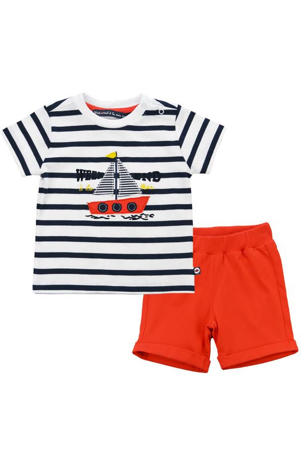 Ensemble t-shirt imprimé rayé avec appliques et short uni Week-end à la mer