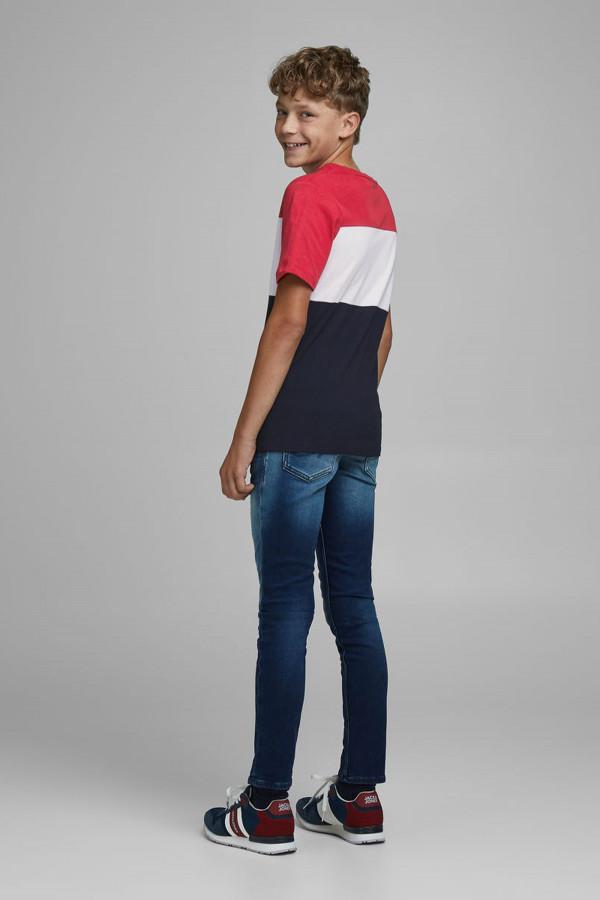 T-shirt en coton tricolore logo imprimé devant LOGO Jack & Jones