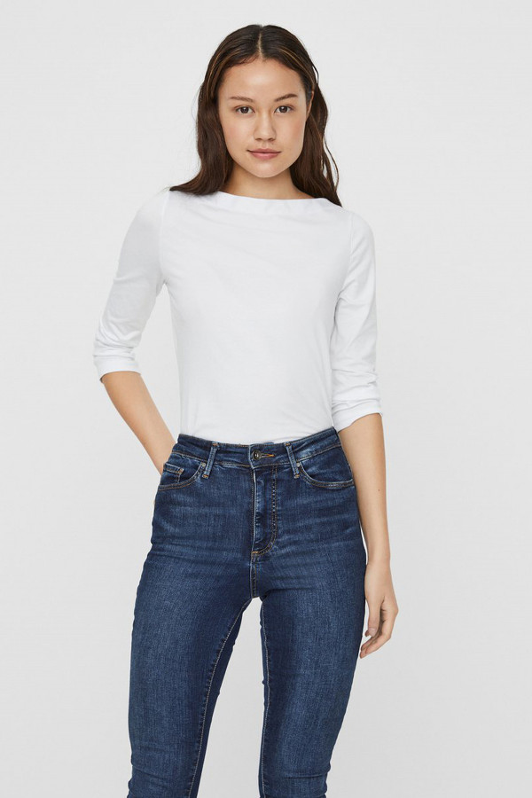 T-shirt uni col dégagé manches 3/4 PANDA Vero Moda
