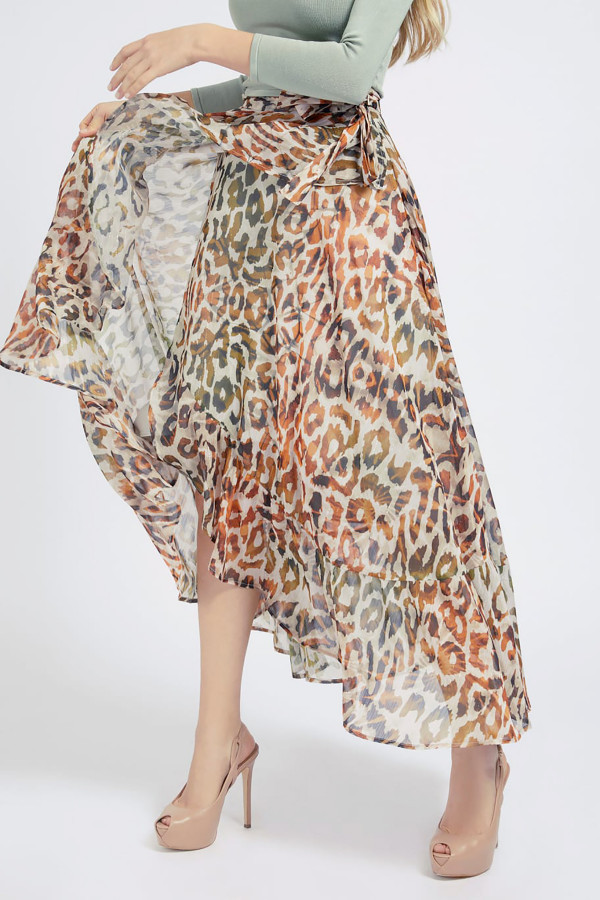Jupe longue en voile imprimé léopard modèle portefeuille Guess