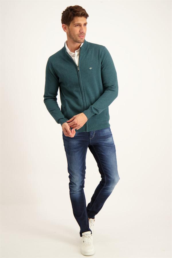 Cardigan zippé avec borderie poitrine en coton Fynch-Hatton