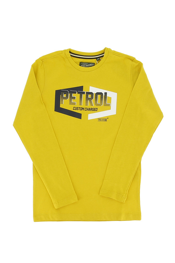 T-shirt manches longues avec impression devant en coton Petrol