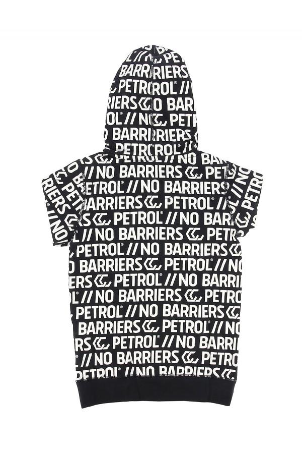 Sweat à capuche imprimé logo en coton manches longues Petrol