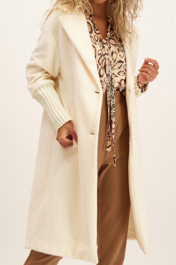 Manteau uni bi-matière en teddy bords côtelés LUNA Amélie & Amélie