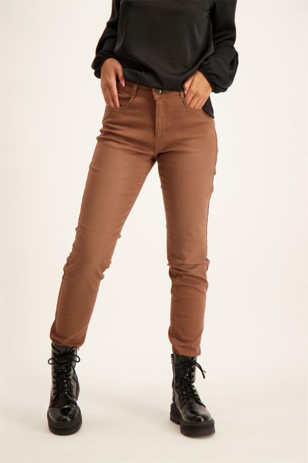 Pantalon uni taille haute avec strass aux poches CELINE Para Mi